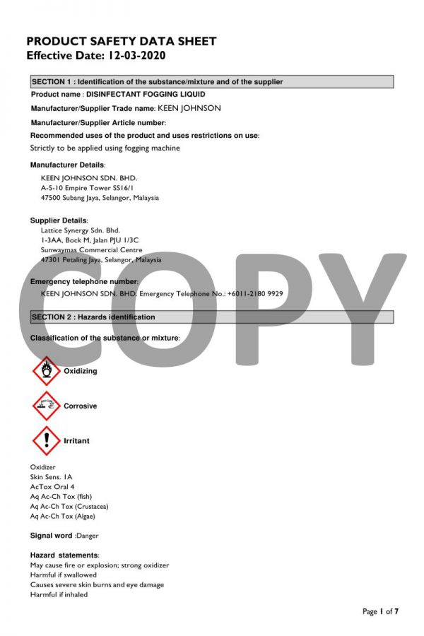 KEEN JOHNSON - Disinfectant Fogging Solution (MSDS), Malaysia