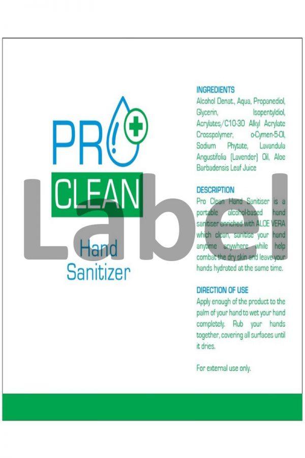 PRO CLEAN Alcohol Hand Sanitizer Description Label, Malaysia